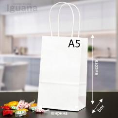 Крафт-пакет з крученими ручками БІЛИЙ (240х150х80мм) А5