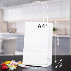 Крафт-пакет с кручеными ручками БЕЛЫЙ (350х250х150мм) А4+