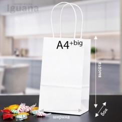 Крафт-пакет с кручеными ручками БЕЛЫЙ (380х280х130мм) А4+big