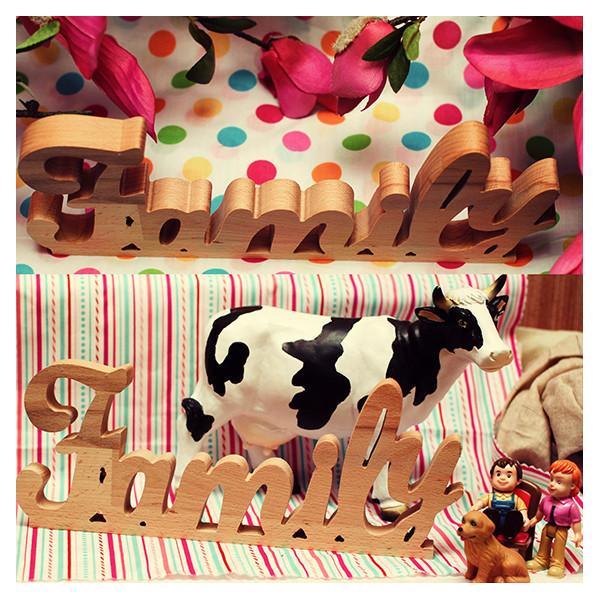 Деревянные буквы Family (без покраски)